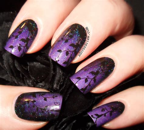 purple pattern nails purple and black gradient with bn05 skaistumam