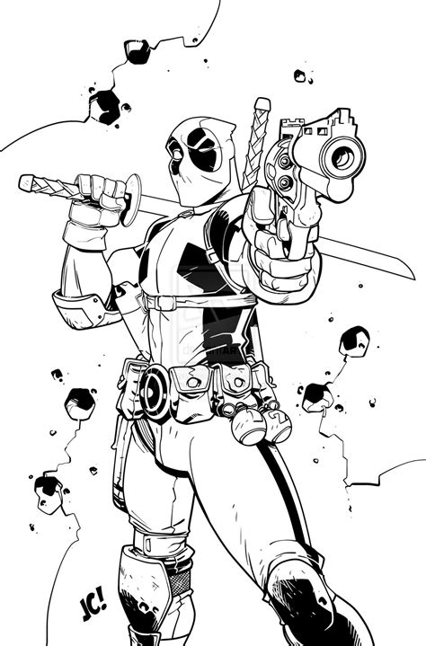 chibi deadpool coloring pages www pixshark com images
