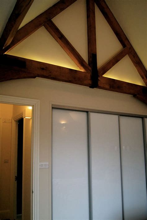 warm white led tape  top  feature oak beams barn