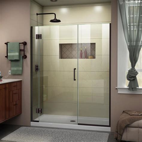 Bronze Shower Doors Frameless Shop Dreamline Unidoor X 64 5 In To 65 In W Frameless Rubbed Bronze Hinged Shower Door At