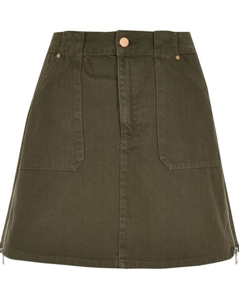 river island khaki a line denim skirt in green lyst