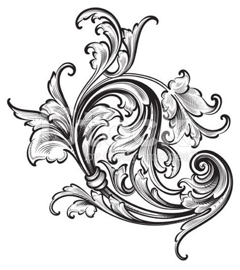 tattoo etching pattern flourish arabesque scrollwork royalty free stock vector