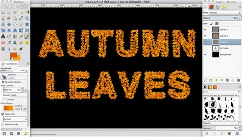 text tutorial in gimp tutorial create a leaves text effect in gimp 187 saxoprint