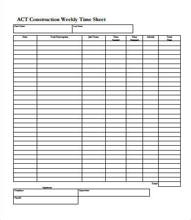 Weekly Timesheet 8 Free Pdf Documents Download Free Premium Templates Sheets Construction Template