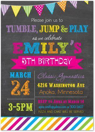 Gymnastics Invitations Tumble Jump Flip Birthday Party Invitations Kids Birthday Invitations Free Bounce Invitation Template