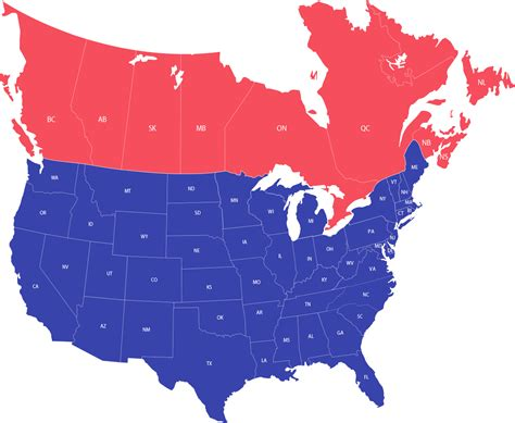 usa map with canada canada and usa map and travel information free