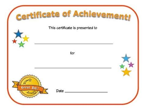 templates for certificates of achievement blank certificates google search church pinterest