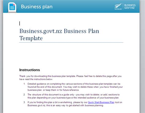 business plan template nz plan template