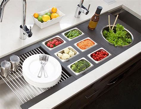 salad bar buffet with drain the galley countertop recessed knife block affordable outdoor kitchens