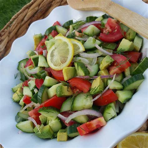 Http Www Joyfulhealthyeats Detox Summer Salad With Citrus Basil Vinaigrette by Garden Fresh Tomato Cucumber Avocado Summer Salad