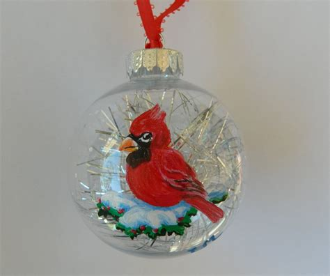cardinal ornament red cardinal ornament handpainted cardinal
