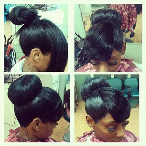 illusion side weave buy illusion bun with bang hairstyles pinterest
