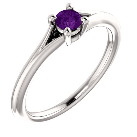 purple gemstone solitaire engagement ring 3mm classic