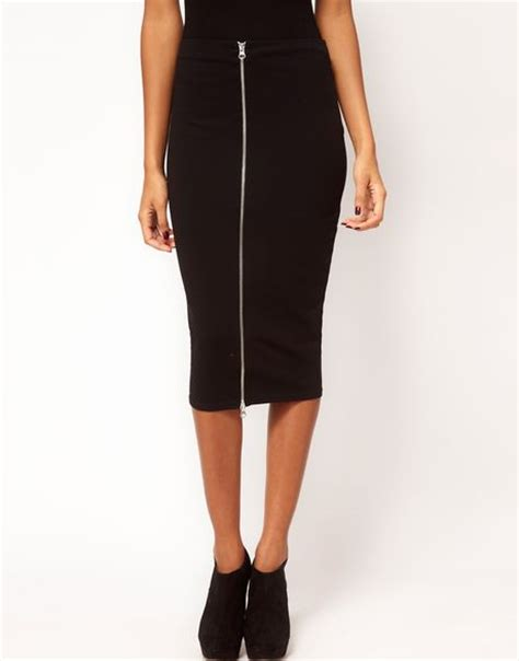 asos collection asos pencil skirt with zip front in black