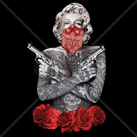 marilyn monroe day of the dead guns bandana roses gangsta