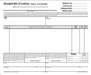 standard bills of lading forms