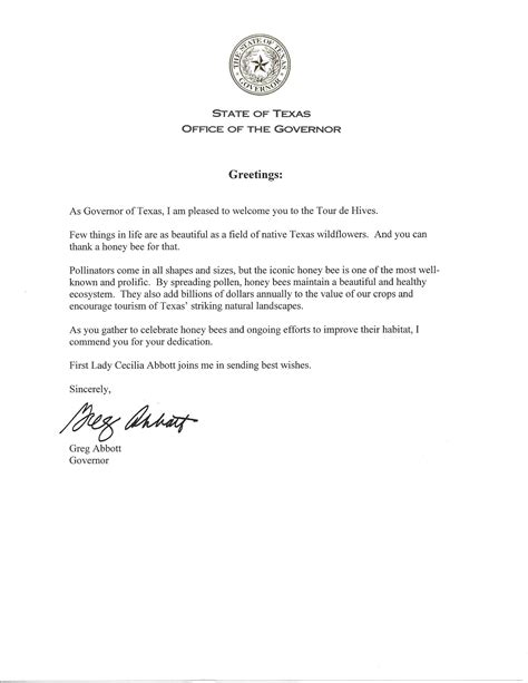 Research Letter To Participants Welcome Letter From Governor Abbott For Tour De Hives Travis County Beekeepers Association