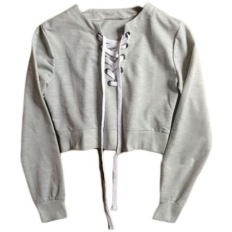Sweeter Crop grey cross lace crop sweater found on polyvore featuring