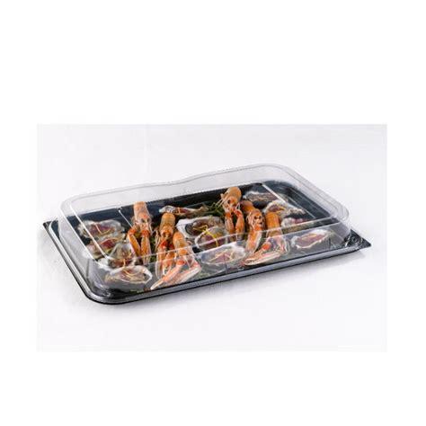Ds17c Medium Rectangular Black Buffet Tray Lid Combo Plastic Buffet Platters