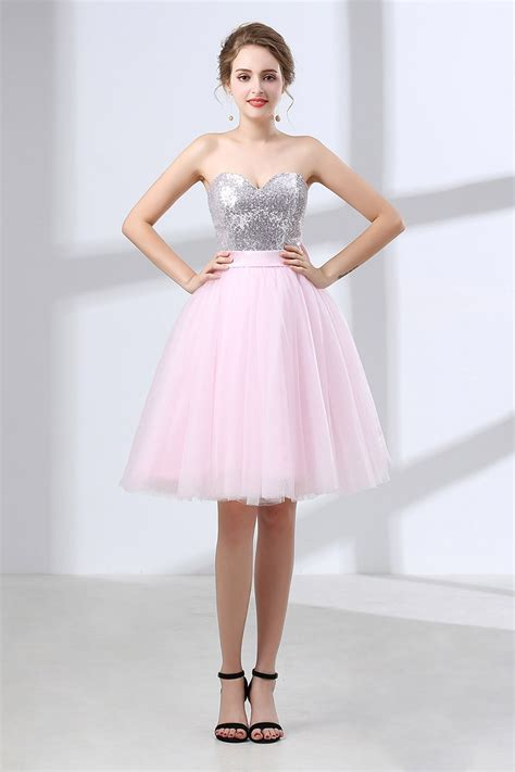 Beautiful Pink Bow Homecoming Dress With Sparkly Silver
