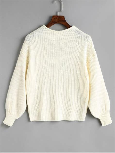 Mock Neck Plain plain mock neck lantern sleeve sweater white sweaters one