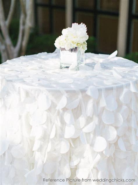 shimmery petal tablecloths ready to ship white taffeta