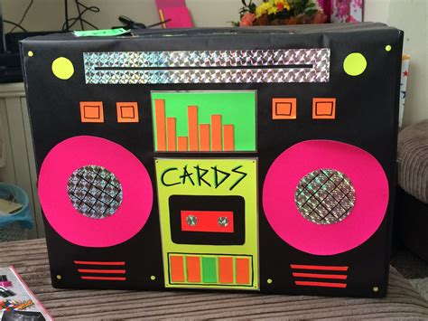 90s decor handmade retro neon boom box card box looked perfect on