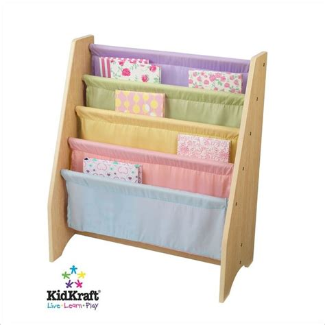 kidkraft pastel sling bookshelf playroom