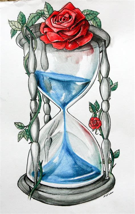 hourglass rose tattoo blue blood hourglass by artofasthar deviantart on