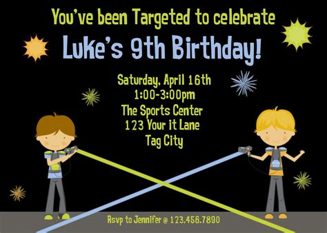 laser tag invitations templates printable birthday invitations