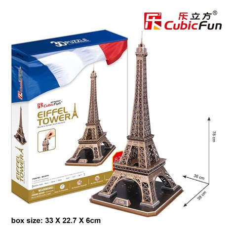 Bookshelf Construction Eiffel Tower Cubicfun Mc091h 3d Puzzle 82 Pieces
