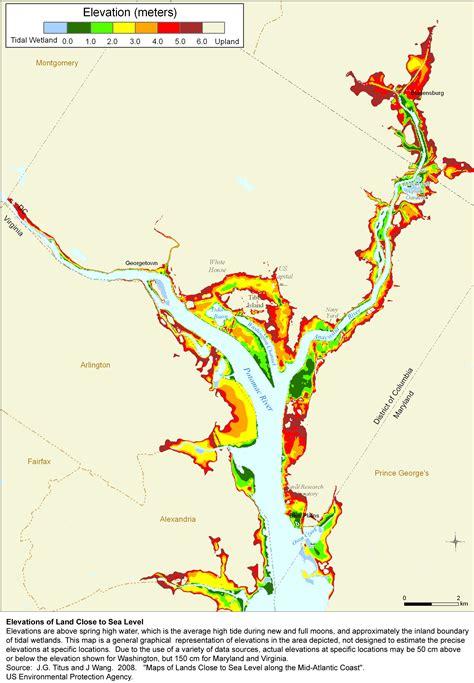 maryland map elevation sea level rise planning maps likelihood of shore protection