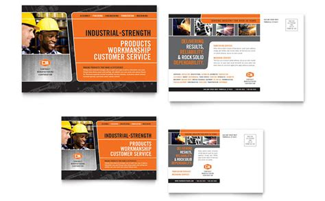 business postcard templates manufacturing engineering postcard template design