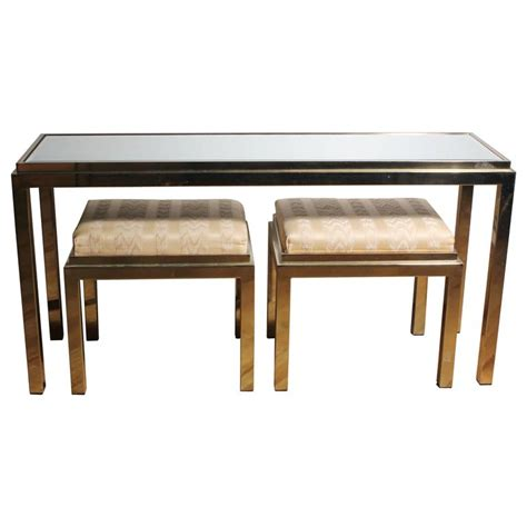 Brass Console Sofa Table With Matching Stools In Style Of Sofa Table With Stools Underneath