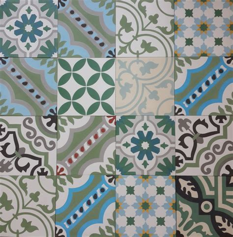 Patchwork Cement Tile - encaustic cement tile patchwork green hadeda tiles
