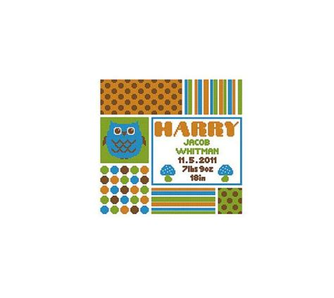 Owl Birth Record Cross Stitch Custom Owl Baby Name Birth Record Cross Stitch Chart Pattern Pdf Colors Births And