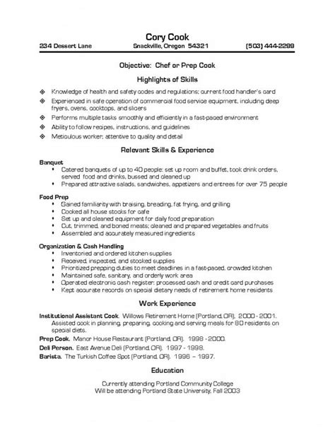 prep cook resume invitation sle pinterest resume
