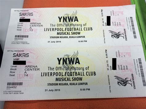 Sho Karpet vvip tickets for liverpool football club musical show