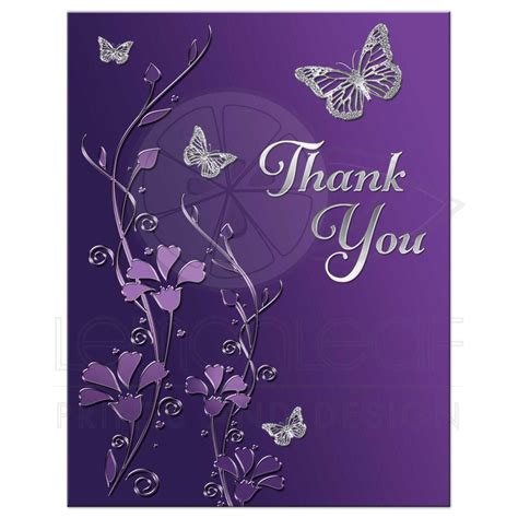 Home Floral Decor by Bat Mitzvah Thank You Note Card Flat Purple Silver