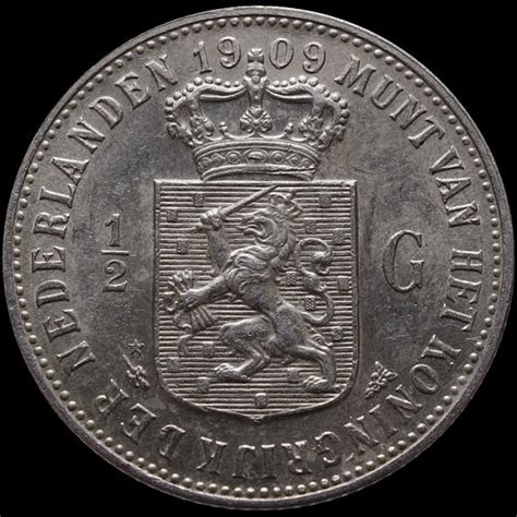 netherlands 189 guilder 1909 wilhelmina silver catawiki