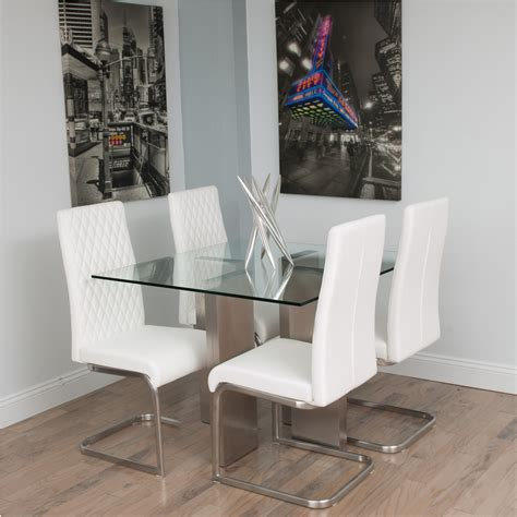 brushed stainless steel and glass dining table stainless steel and glass kitchen table home design
