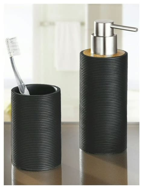 Modern Bamboo Bathroom Accessories Bamboo Bath And Spa Accessory Set Matte Black 10oz