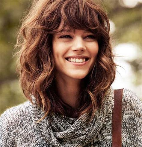 hairstyles with bangs for thick hair medium length hairstyles for thick wavy hair with bangs