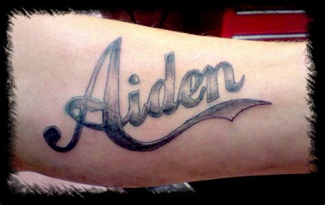 aiden lettering tattoo picture