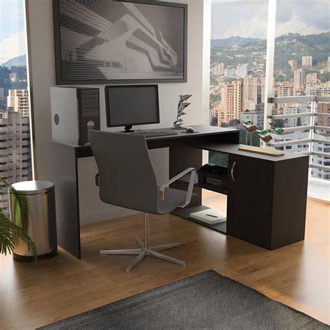 Espresso L Shaped Desk Axis Espresso L Shaped Corner Desk With Door And Shelves Elw1464 The Home Depot