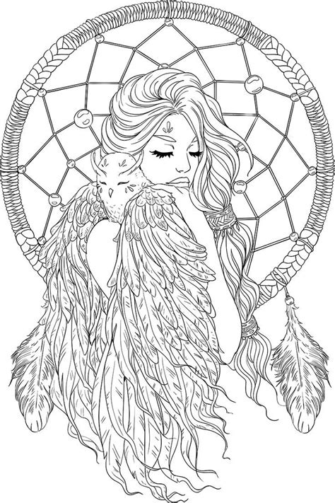 printable coloring pages pinterest lineartsy free adult coloring page dreamcatcher lined