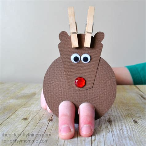 puppet crafts for cutest reindeer finger puppet craft artsy momma