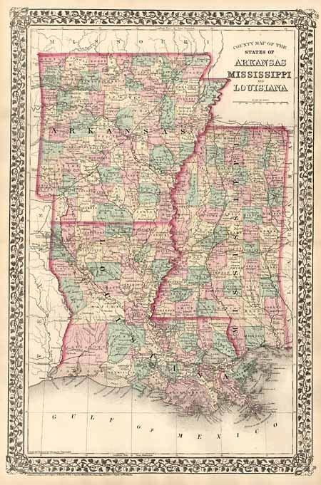 county map of the states of arkansas mississippi and