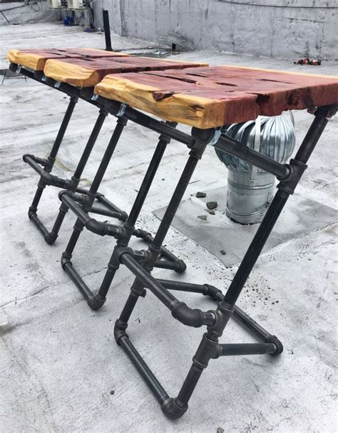 Iron Pipe Bar Stool by Iron Pipe Barstools With Live Edge Wood Seats By