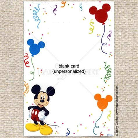 Mickey Mouse Card Template by Blank Mickey Mouse Baby Shower Invitations Free